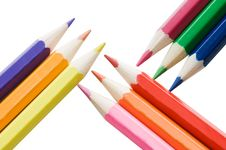 Free Colour Pencils Isolated Over White Royalty Free Stock Photo - 15334055