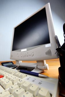 Classic Work Place - Keyboard And Monitor Stock Image