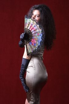 Free Mystery Woman With The Fan Stock Photography - 15335862