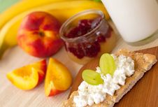 Breakfast With Fruits And Jam Stock Photos