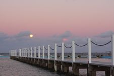 Free Full Moon Rising Over The Ocean At Sunset Royalty Free Stock Images - 15337189