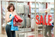 Free Happy Girl After Successful Shopping Stock Photography - 15337492