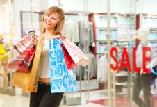Free Happy Girl After Successful Shopping Stock Photos - 15337543
