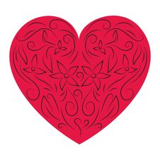 Floral Red Heart Stock Image