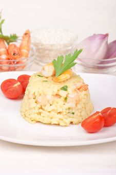 Risotto With Shrimps Served On A White Plate Royalty Free Stock Images