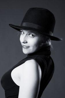 Free Beautiful Sexy Blonde Woman With Hat. Fashion Art Stock Photography - 15338352