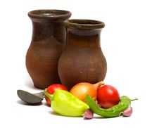 Still Life With An Old Pitcher. Royalty Free Stock Images