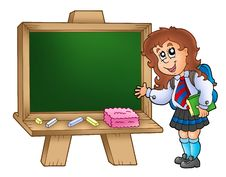 Free Cartoon Girl With Chalkboard Stock Photos - 15339793