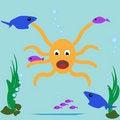Free Comical Octopus Underwater Fish Illustration Stock Photos - 15340813