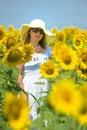 Free Beautiful Woman On Sunflower Field Stock Image - 15341591