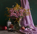 Free Still Life With Pink Colors And Apples Stock Images - 15344844