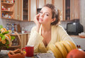 Free Pretty Woman In The Kitchen Royalty Free Stock Image - 15346336