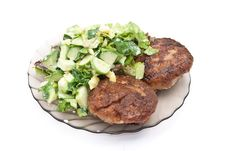 Free Cutlets With Salad Stock Photos - 15340003