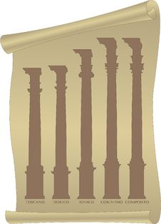 Free Silhouettes Of Antique Columns On A Parchment Roll Stock Photos - 15340223