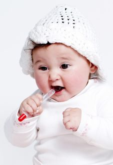 Free Little Girl A On White Background Royalty Free Stock Images - 15341459