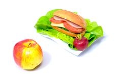Free Big Sandwich And A Ripen Apple Stock Images - 15341684