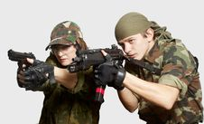 Free Portrait Of Soldiers Up In Arms Stock Photo - 15342330