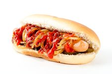 Free Hot Dog With Ketchup Royalty Free Stock Photos - 15342378