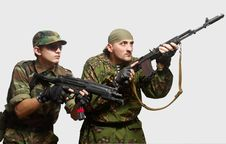 Free Soldiers With An Automatic Assault Rifles Stock Images - 15342424