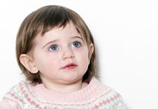Free Little Girl A On White Background Stock Images - 15343034