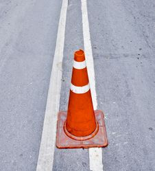 Traffic Cone On Road 4 Royalty Free Stock Image