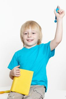 Free The Boy Of Preschool Age With Book Royalty Free Stock Image - 15343336