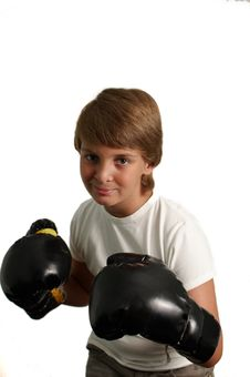 Free The Boy In Boxing Gloves . Royalty Free Stock Photos - 15343778