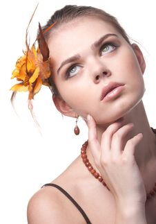 Free Beautiful Girl With An Orange Flower Royalty Free Stock Photography - 15344177