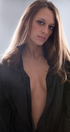 Free Sexy Woman In Open Man S Shirt Royalty Free Stock Photo - 15344615