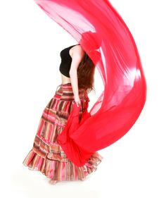 Free Young Girl Dancing With Red Scarf Stock Photography - 15344732