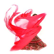 Free Young Girl Dancing With Red Scarf Stock Photography - 15344772