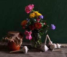 Free Still Life With Different Flowers And Jar Of Jam Stock Photos - 15345123