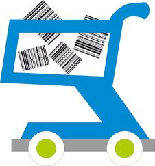 Free Shopping Cart With Barcodes Inside Stock Photos - 15345453