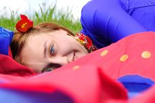 Free Gipsy Girl In Blue, Lying On Green Royalty Free Stock Photography - 15345867