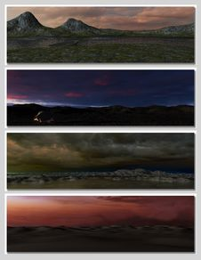 Free Four Different Fantasy Landscapes For Banner, Royalty Free Stock Photos - 15346308