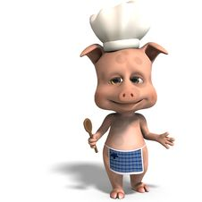 Free The Cook Is A Cute Toon Pig Stock Photography - 15346372