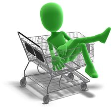 Free Symbolic 3d Male Toon Character Goes Shopping Royalty Free Stock Photo - 15346385