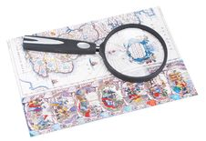 Free Old-time Card And Magnifying Glass Royalty Free Stock Image - 15347926