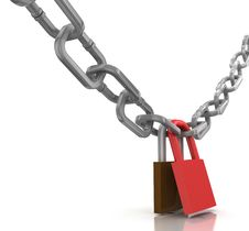 Free Locked Chain With Padlock Stock Image - 15348091