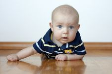 Free Cute Baby Boy Laying On His Tummy Royalty Free Stock Photography - 15348547