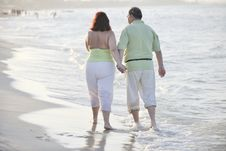 Free Happy Seniors Couple  On Beach Royalty Free Stock Images - 15348639