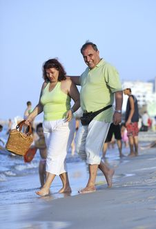 Free Happy Seniors Couple  On Beach Royalty Free Stock Photo - 15348895
