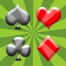 Free Spade, Heart, Club And Diamond Stock Image - 15349351