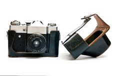 Camera And Case Royalty Free Stock Image