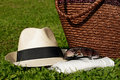 Free Sun Hat With Sunglasses On Meadow Royalty Free Stock Images - 15353889