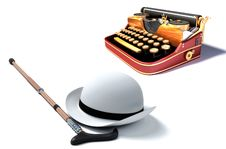 Typewriter, Hat And Cane Stock Photography