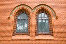 Red Bricks Church Ornamental Windows Stock Image
