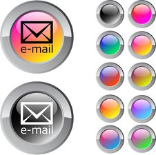 Free E-mail Multicolor Round Button. Stock Photos - 15351213