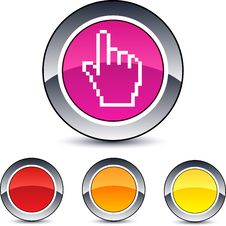 Free Pixel Hand Round Button. Royalty Free Stock Images - 15351219