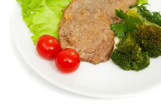Free Escalope Of Veal With Onion Sauce And Boiled Broccoli Royalty Free Stock Image - 15351656